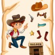 A poster with a cowboy and a saloon bar — Stock Vector
