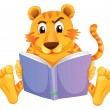 Stock Vector: A tiger reading