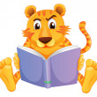 Royalty-Free Stock Vector Image: A tiger reading
