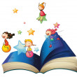 Cтоковый вектор: Book with children playing