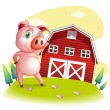 A pig at the farm pointing the barnhouse — Stock Vector