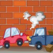 A car accident near the wall — Stock Vector