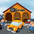Royalty-Free Stock Vector Image: A damaged car in the middle of two boys in front of the garage