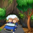 A girl and a boy riding in a car passing the cave — Stock Vector