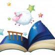 A book with a sheep jumping — Stock Vector