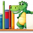 A crocodile above the shelf holding an empty signboard — Stock Vector