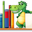 Stock Vector: A crocodile above the shelf holding an empty signboard