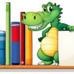 A crocodile above the shelf holding an empty signboard — Stock Vector