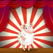 A sheep at the stage holding an empty signage — Stock Vector