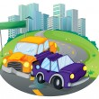 A car crash at the street near the empty green signage — Stock Vector