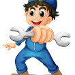 A cute male mechanic — Stock Vector