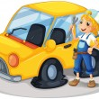 A girl holding a tool beside a car with flat tires — Imagens vectoriais em stock