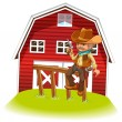 Royalty-Free Stock Vectorafbeeldingen: A cowboy holding a gun sitting on a wood in front of the barnhou