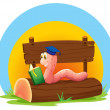 A worm reading a book above a trunk with an empty signage — Stock Vector