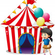 A girl with balloons in front of the circus tent - Stock Vector