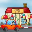 An orange car in front of the coffee shop — Stock Vector #26828565