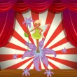 Stock Vector: A fairy at the stage with flowers