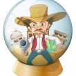 A cowboy holding a gun inside the crystal ball — Stock Vector