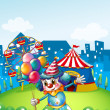 A clown at the carnival with balloons - Stock Vector