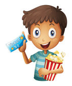 A boy holding a ticket and a popcorn — Stock Vector
