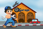 A happy boy in front of a garage — Stock Vector