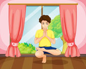 A man performing yoga near the window — Stock Vector