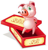 A pig standing inside a box — Stock Vector