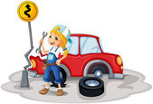 A female mechanic near the car accident — Stock Vector