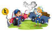 A male and a female mechanic fixing the damaged cars — Stock Vector