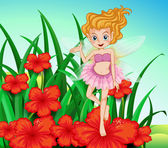 A fairy at the garden with red flowers — Stock Vector