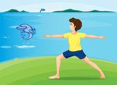 A boy exercising at the riverbank — Stock Vector
