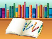 Ένα κενό σημειωματάριο με κραγιόνια μπροστά από το ράφι με βιβλία — Διανυσματικό Αρχείο