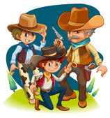 Three cowboys in different positions — Stock Vector