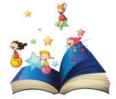 Un libro con los niños jugando — Vector de stock