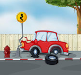 A car accident at the roadside near the hydrant — Stock Vector