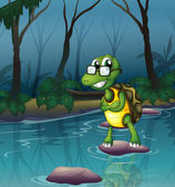 A turtle in the pond — Stock Vector