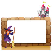 A witch with a broomstick in front of an empty template — Stock Vector