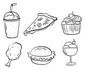 Doodle des dessins des différents aliments — Vecteur