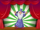 A wizard doing magic on the stage — Stock Vector