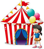 A girl with balloons in front of the circus tent — Stock Vector