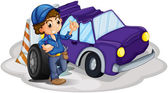A boy standing in front of a wheel beside the damaged car — Stock Vector