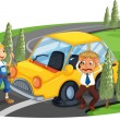 A car accident at the road near the pine trees — Stock Vector