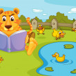 A tiger reading beside a pond with ducklings — Stock Vector