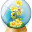 A crystal ball with pink flowers and a fairy — Stock Vector