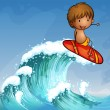 A boy surfing in the waves — Stock Vector