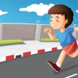 A young boy running at the street — Stock Vector