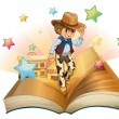 Stock Vector: A book with a young cowboy in front of a saloon bar