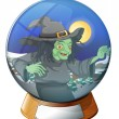 A witch inside the crystal ball — Stock Vector