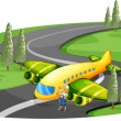 An airplane at the road beside the young girl — Stock Vector