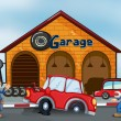 Stock Vector: Two adorable boys in front of garage